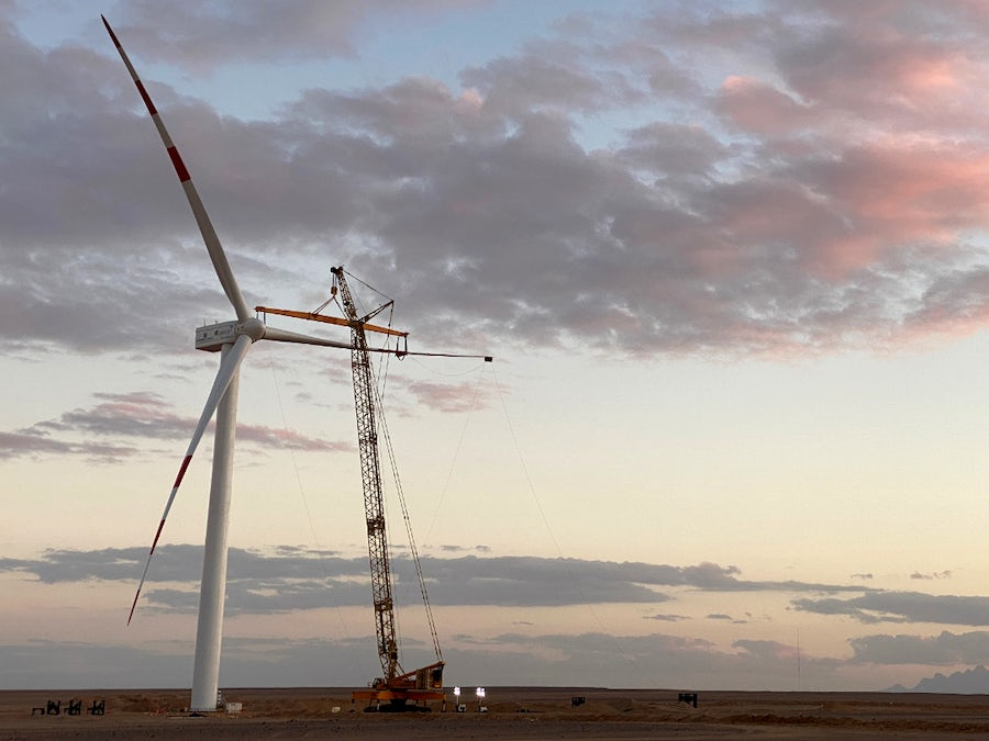 Safety milestone passed as turbines rise at West Bakr Wind Farm