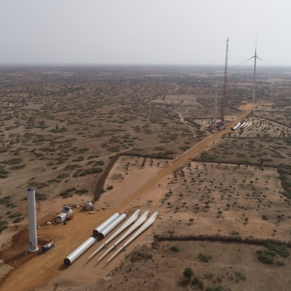 First wind turbines rise from Taiba N'Diaye plain