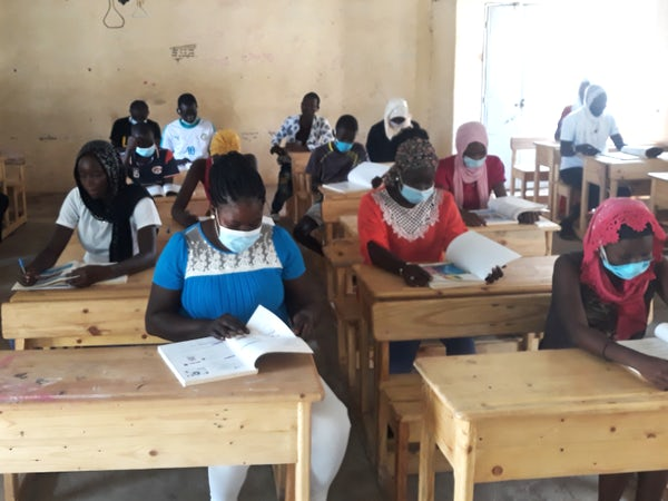 Turbine crates recycled as desks for Taiba N'Diaye schools